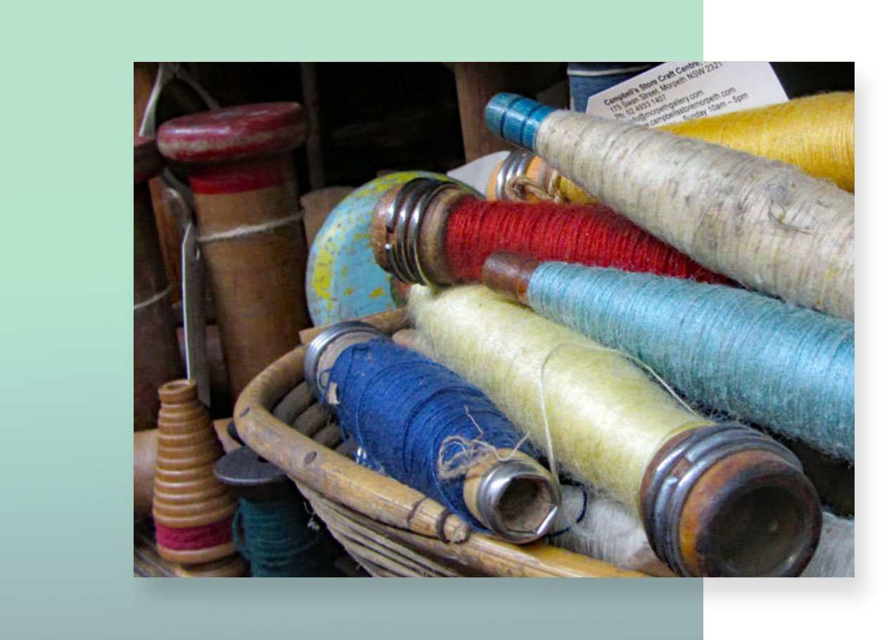 an antique thread in different colors