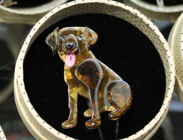 vintage erstwilder brooch ava the bisbehaver' dog jewelry